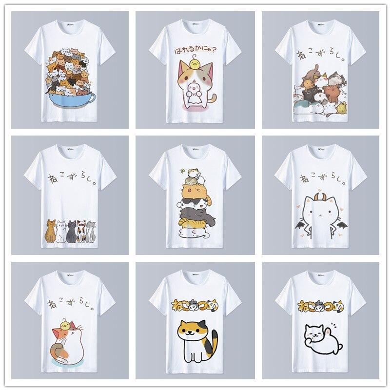 1902d7ab24a8 Anime Harajuku T-Shirt Neko Atsume Clothing Unisex Adults Child Casual  fashion T Shirt Short
