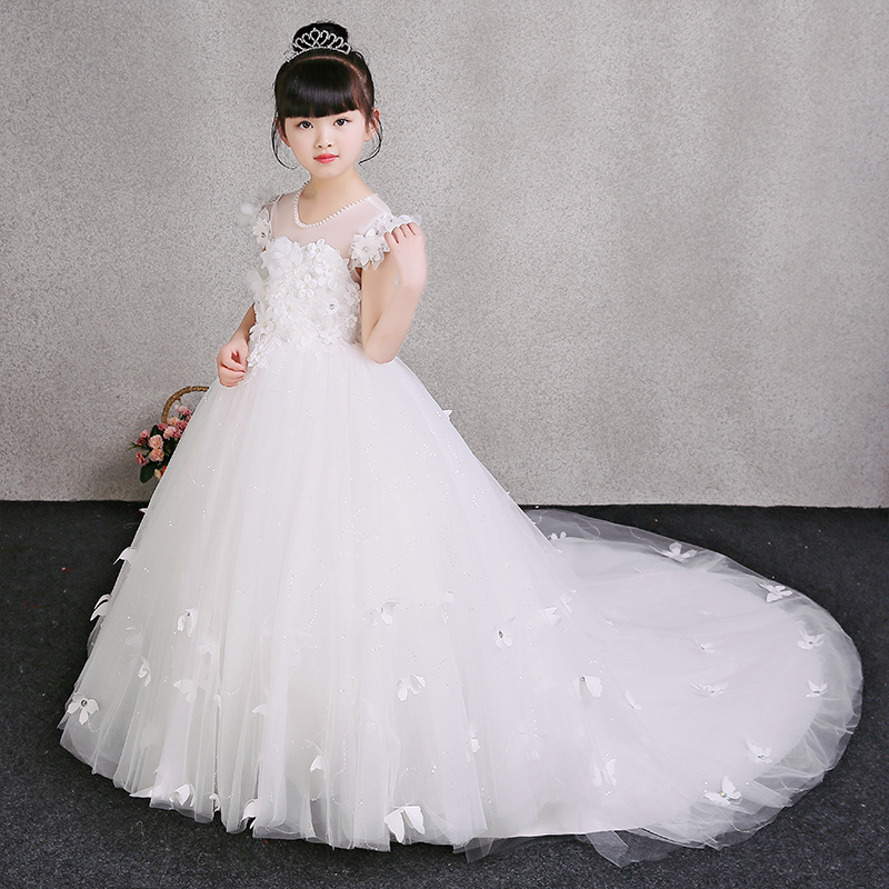 Luxury Exquisite Children Girls White Birthday Wedding Evening Party Long Princess Flowers lace Tail Dress Kids Babies Dress lace high low swing evening party dress