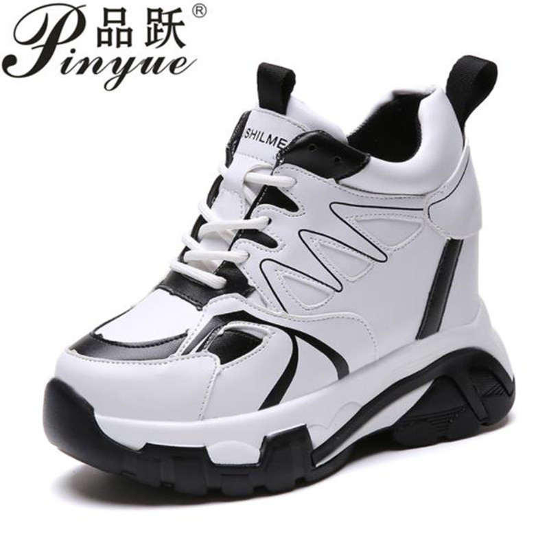 2018 New Fashion Women High Top Sneakers Platform Wedge Heels Leather Shoes 10CM Autumn Casual Shoes Zapatillas Deportivas Mujer