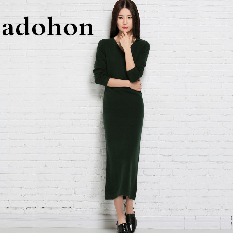 adohon 2017 womens winter Cashmere sweaters and auntmun women knitted Dresses High Quality Warm Female thickening