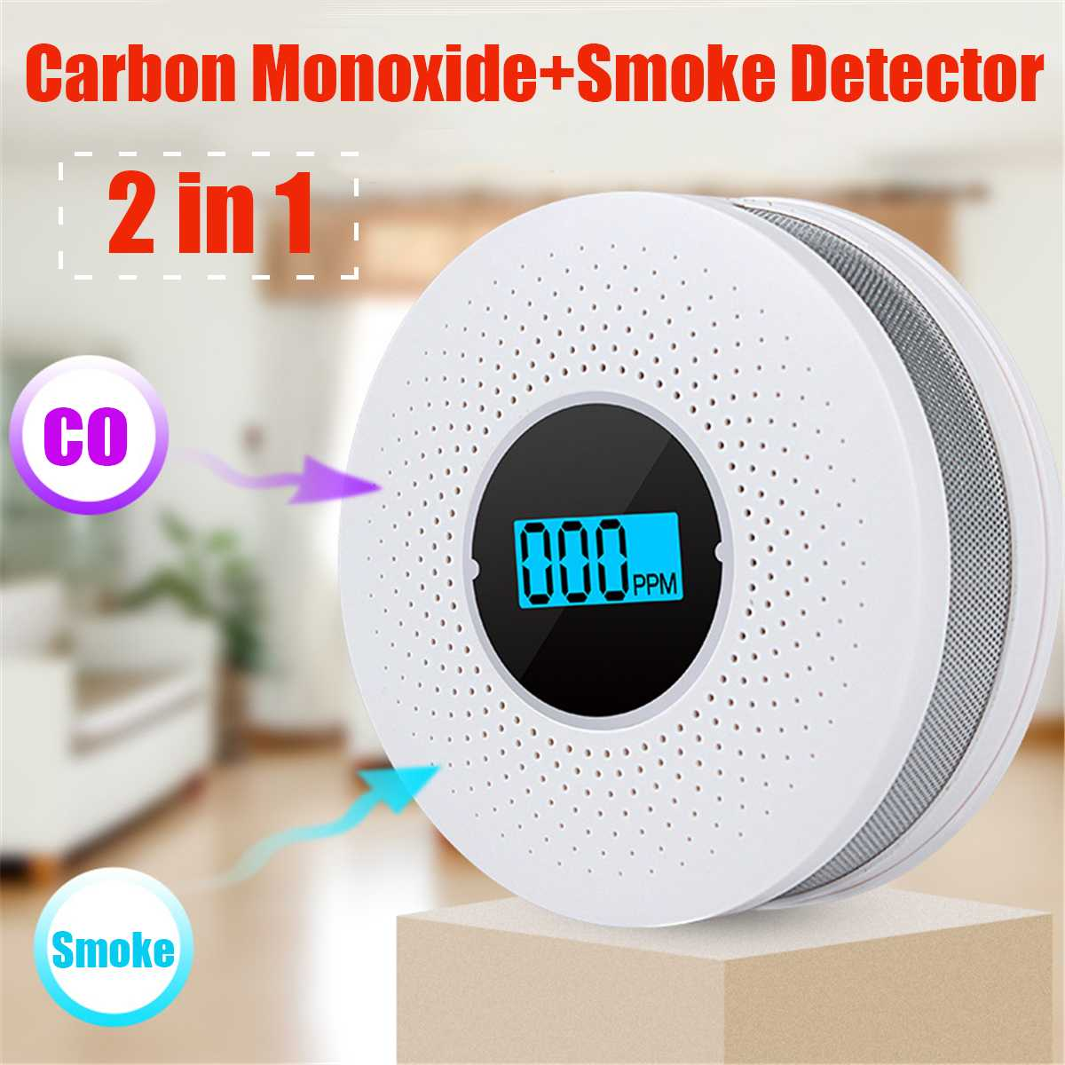 2 In 1 LCD Display Carbon Monoxide And Smoke Combo Detector Battery Operated CO Alarm With LED Light Flashing Sound Warning