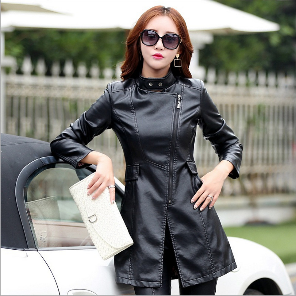 High Quality PU Motorcycle Autumn Winter Outerwear M-5XL   Leather   Coat Jacket Women Fashion Slim Patchwork Long Female Jacket