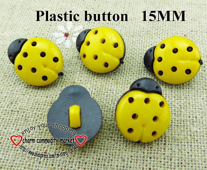 100 ADET 15 MM sarı Boyalı Plastik Uğur Böceği düğme ceket bot dikiş giysi aksesuarları P-122-8