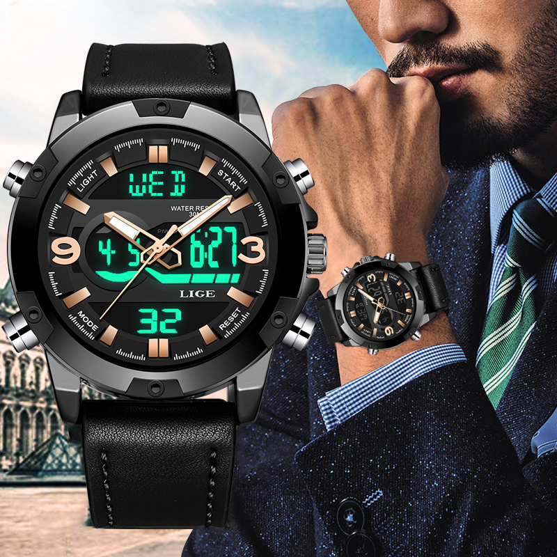 New LIGE Men Watches Top Brand Luxury Sport Waterproof Digital Watch Men Fashion Date LED Dual Display Watch Relogio Masculino
