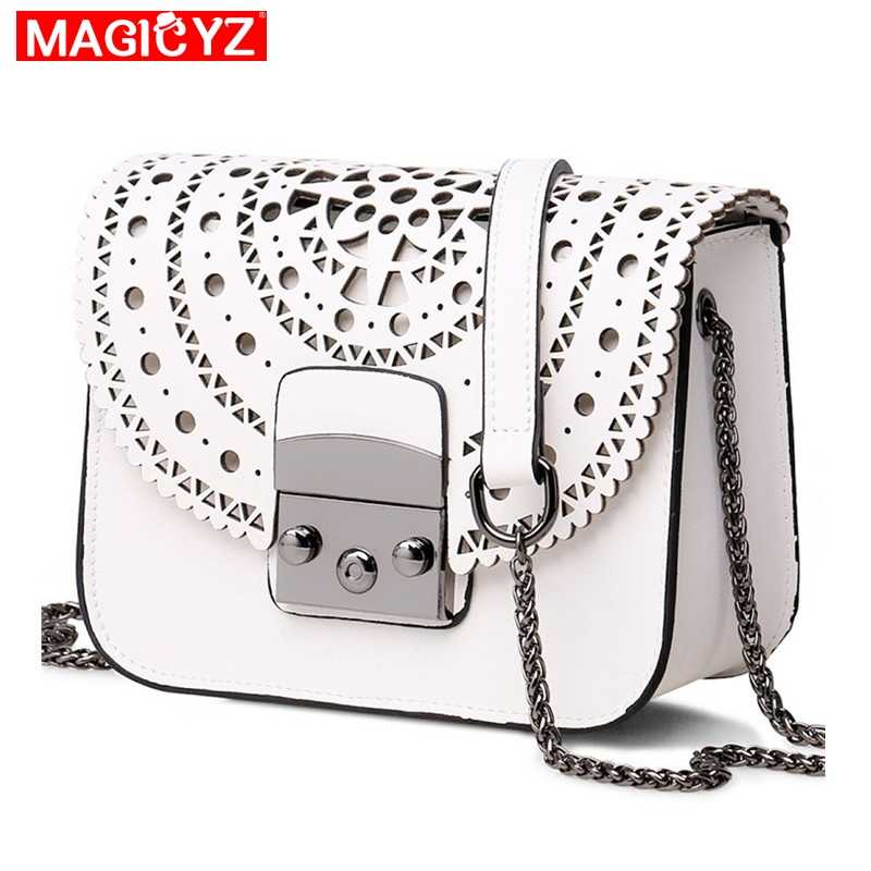 a1671fe84885 MAGICYZ модные женские туфли маленькие сумки выдалбливают кожа Для женщин  сумка известный бренд дамы посланник сумка