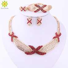 African Beads Jewelry Sets Crystal Necklace Earrings Bracelet Ring Set Gold/Silver Plated Fashion Jewelry Set for Women Party
