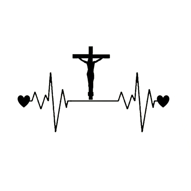 20cm113cm Jesus Cross Heartbeat Lifeline Vinyl Decal Car Sticker