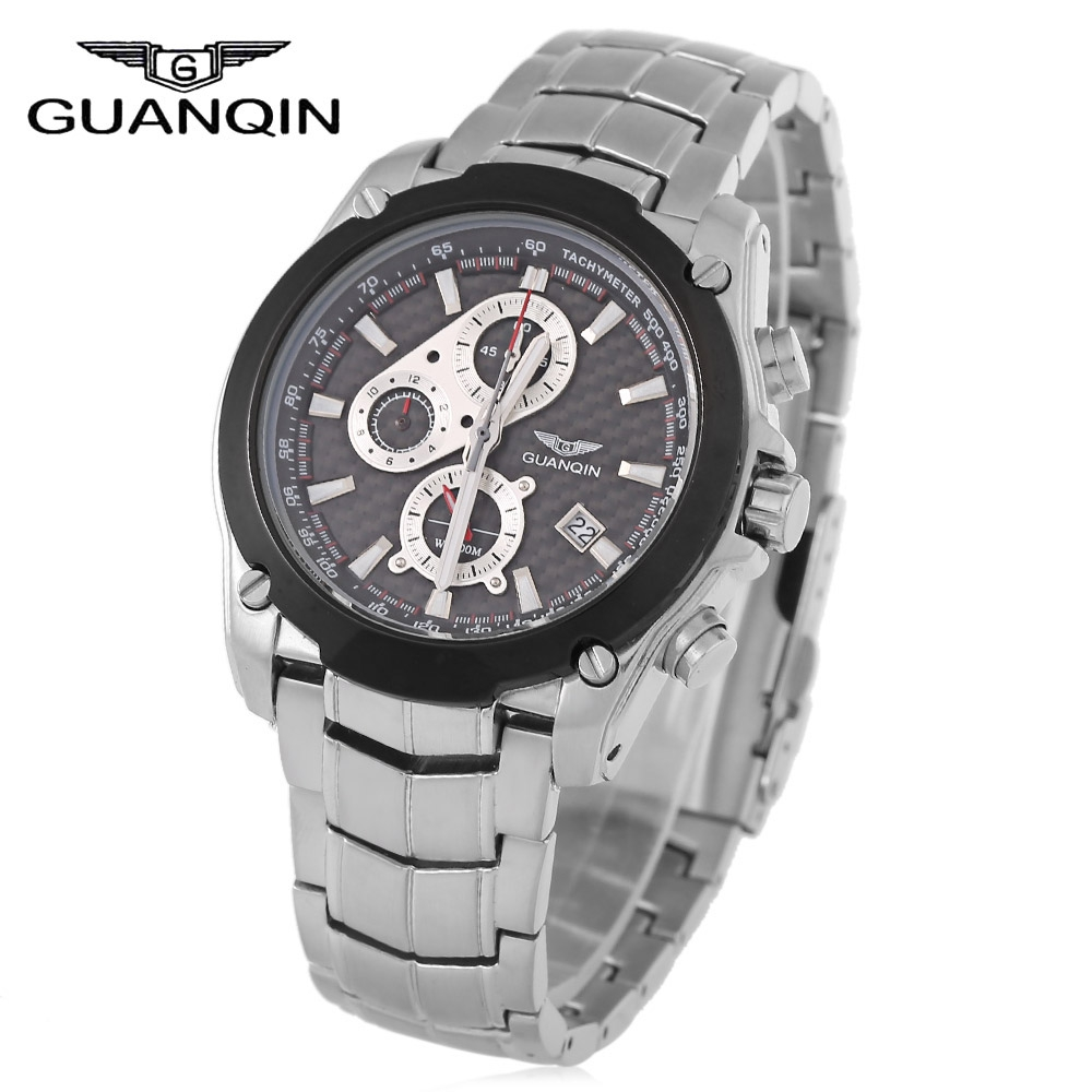 GUANQIN Men Quartz Watch 10ATM Luminous Chronograph Date Display Sapphire Glass Mirror Wristwatch seiko watch premier series sapphire chronograph quartz men s watch snde23p1