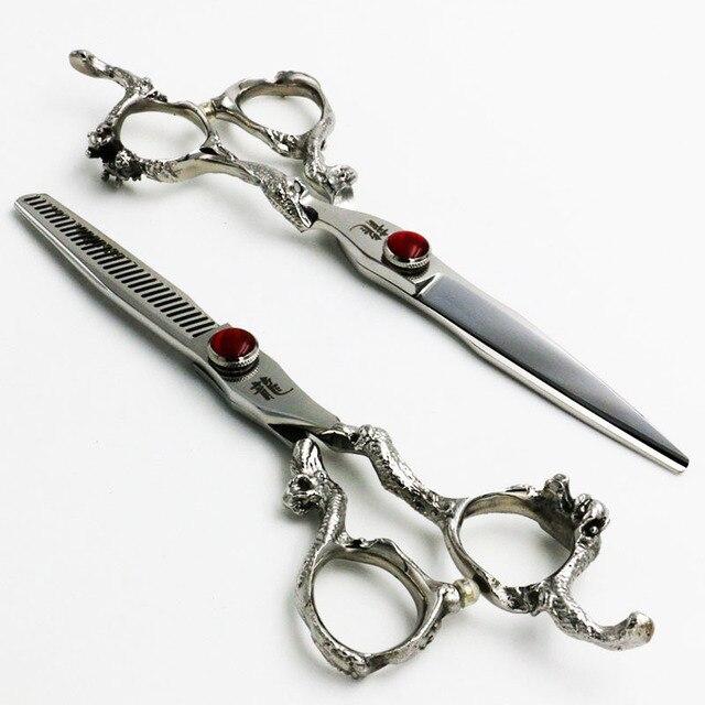 6 дюймов KASHO Профессиональный Парикмахерские Ножницы набор Для Резки + Истончение Парикмахерская ножницы Высокое Качество Серебряный Дракон модели