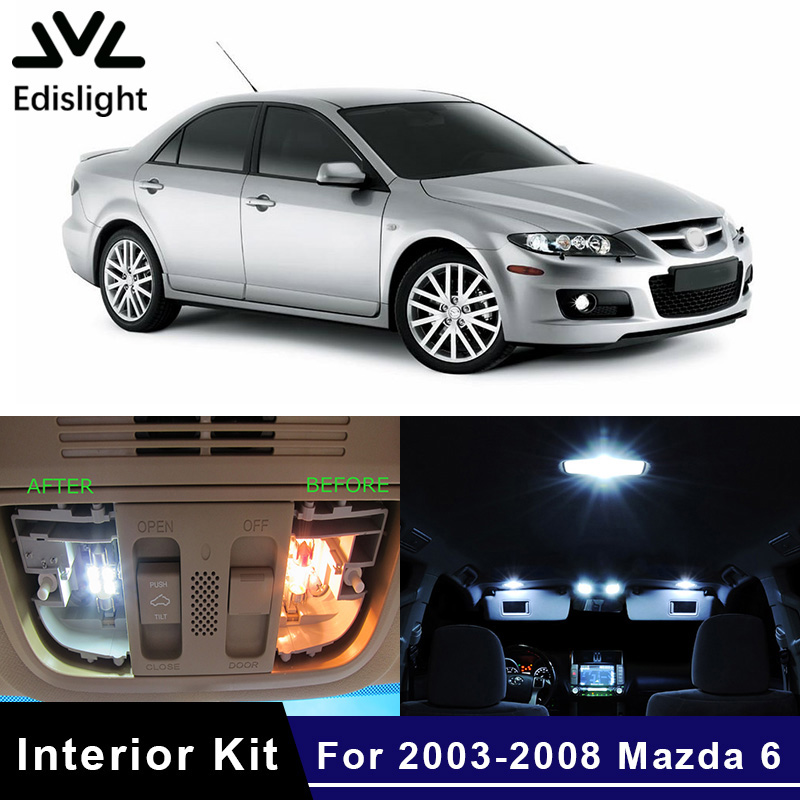 2003-2008 Mazda 6 Premium White LED Interior Package 7 Pieces