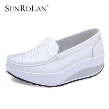 Sunrolan лето натуральная кожа женщин медсестра обувь качели обувь рабочая обувь обувь одного клинья женщин черный белый платформа 8102
