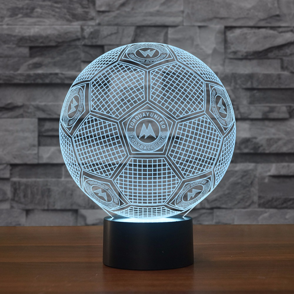3D Led Football Modelling Touch Button Table Lamp USB 7 Colors Change Child Bedroom Light Fixtures Decor Led Soccer Night Light 7 color change 3d led visual naruto modelling anime figure night light kids touch button usb table lamp home decor lighting gift