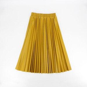 Image 2 - Jesień zima kobiety spódnice plisowana spódnica ze skóry wysokiej talii elastyczne talia linia kolano długość kobiet spódnica Faldas Mujer