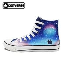 Men Women Skateboarding Shoes Hand Painted Converse Chuck Taylor Design Custom Galaxy Fire Balloon High Top