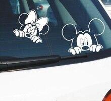Забавная наклейка для автомобиля, 2 шт., милый чехол с Микки и Минни Маус для подглядывания, царапины, мультяшное зеркало заднего вида, наклейка для мотоцикла Vw Ford