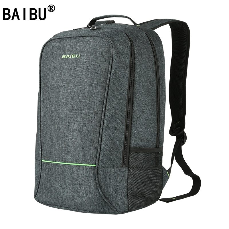 цена BAIBU NEW Men design Anti-theft USB Charging Travel Backpack Men Women school bag Large 15.6