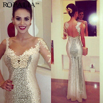 Women Long Beaded Formal Prom Bridal Dress 1