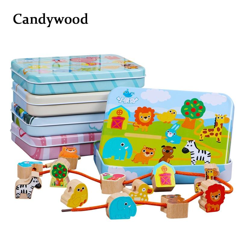Buche Holz Blöcke Cartoon Tiere Obst Block Holz Spielzeug Bespannen Threading Perlen Spiel Pädagogisches Spielzeug für Baby Kinder Kinder