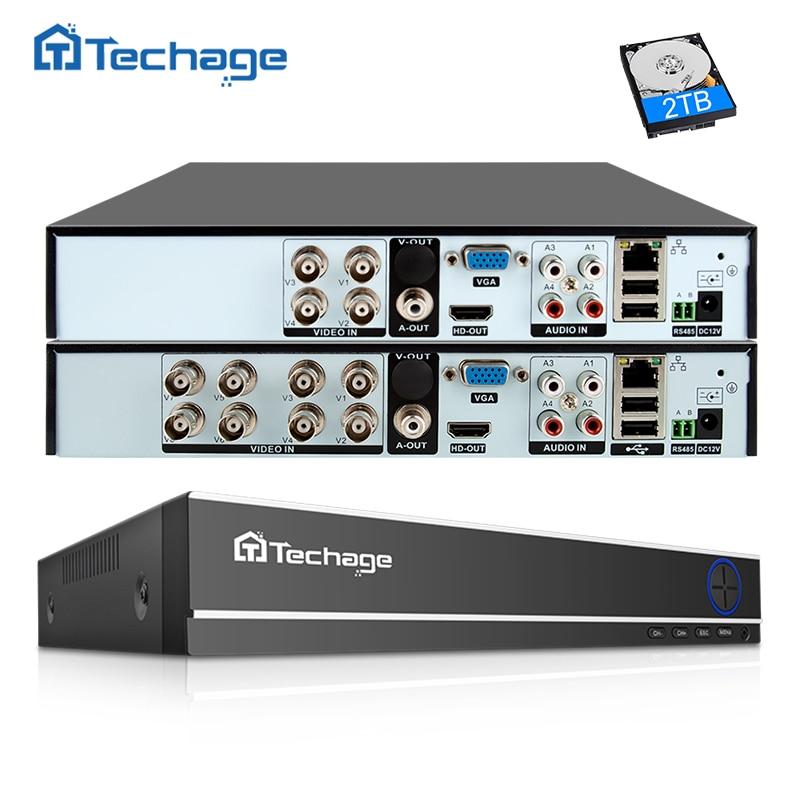 Techage H.264 4CH 8CH 1080P HDMI AHD CCTV DVR NVR HVR 1080N P2P Cloud Security Digital Video Recorder for Analog AHD IP Camera