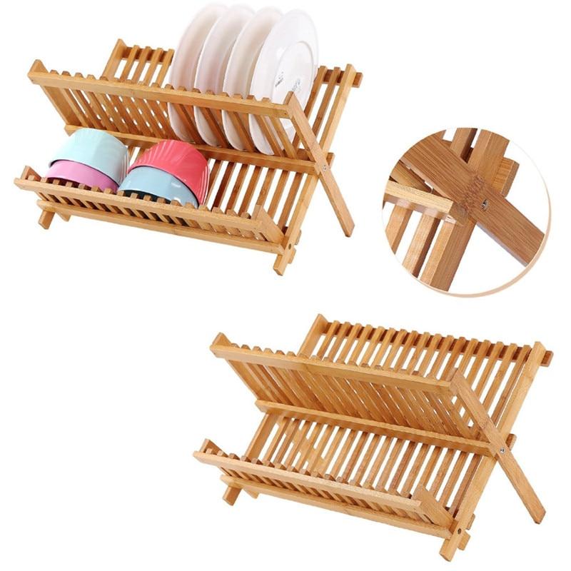 Folding Bamboo Dish Rack Drying Rack Holder Utensil Drainer Plate Storage Holder Plate Home Kitchen Wooden Flatware Dish Rack Racks & Holders     - title=