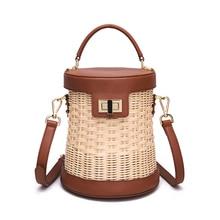 free shipping Hand-woven rattan bag, cowhide woven imported high-grade rattan, handmade,handbag, shoulder bag leather