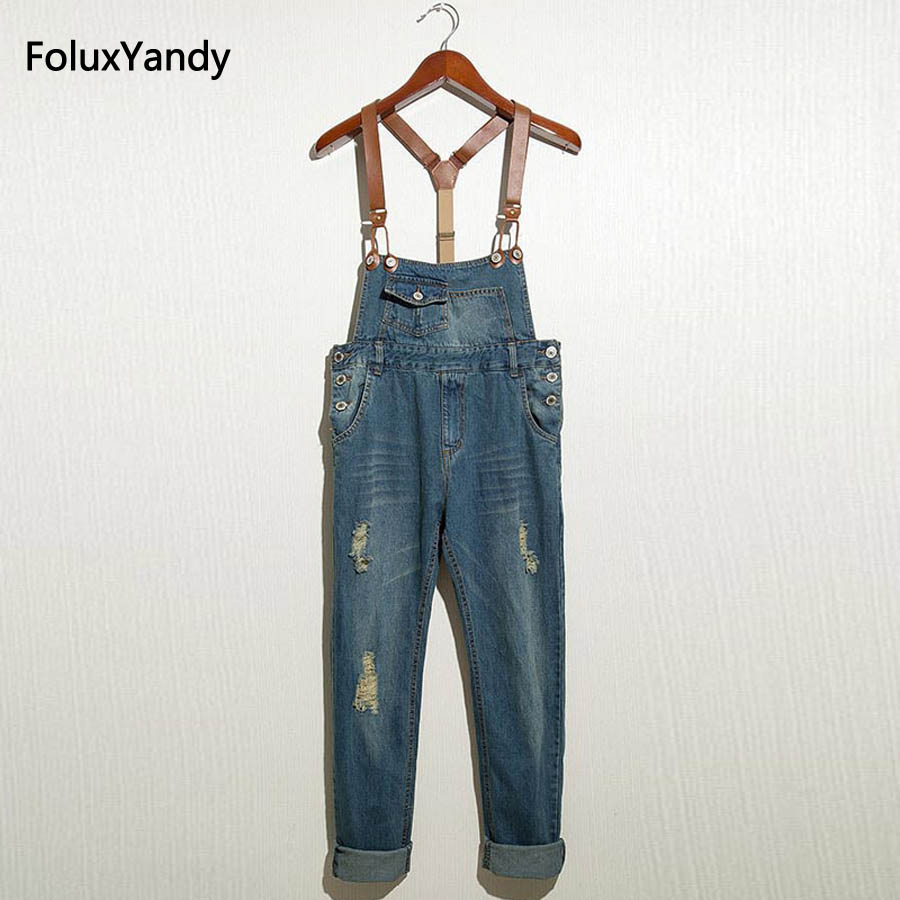 Male Denim Overalls Front Pockets Hole Ripped Bib Jeans Blue Suspenders Trousers OR01 new male suspenders new casual light blue denim overalls ripped jeans pockets men s bib jeans boyfriend jumpsuits