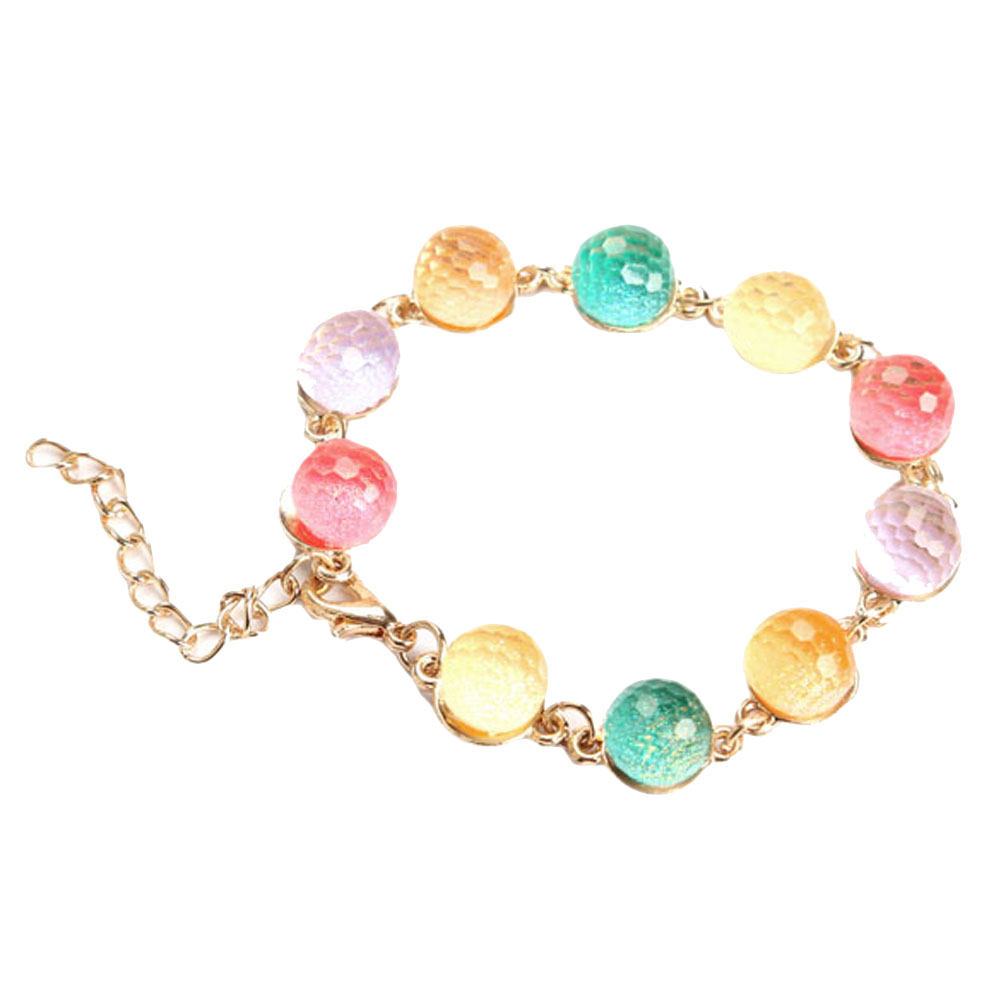 Elegant Rainbow Candy Color Crystal Beads Bracelet Bangle Brace Lace Chain CX17