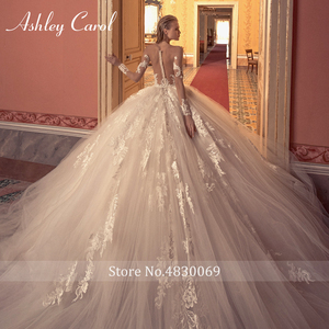 Image 4 - Ashley Carol Ball Gown Wedding Dress 2020 Long Sleeve Bridal Luxury Beaded Appliques Illusion Cathedral Princess Bride Dresses