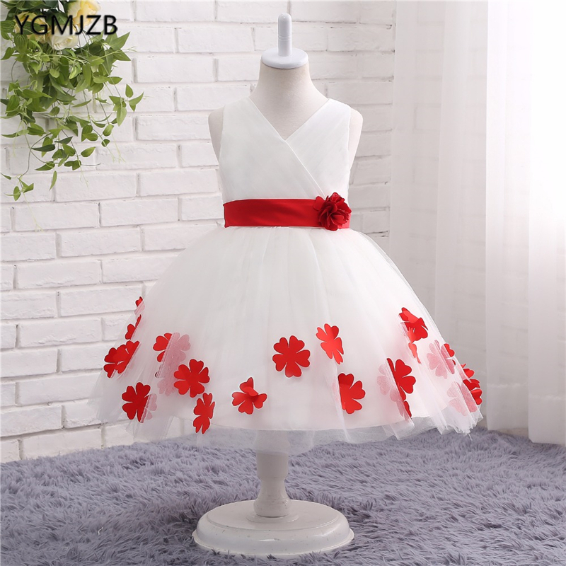 White   Flower     Girl     Dresses   for Weddings   Flowers   Tank V-Neck Bow Back First Communion   Dresses   Prom   Dress   Pageant Ball Gown