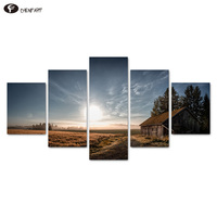 CHENFART 5 Pieces Canvas Landscape Painting American West Fram Evening Wall Art Pictures For Living Room