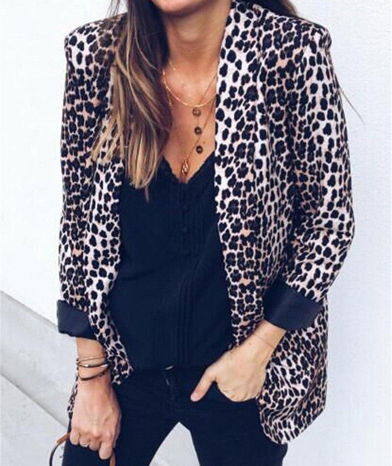 Women Slim OL Suit Casual Blazer Leopard Coat Tops Outwear 2018 Autumn 2018 Spring Long Sleeve Fit Casual Blazer