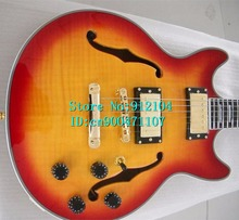 new hollow electric guitar in orange for jazz music+foam box+FREE SHIPPING 1035