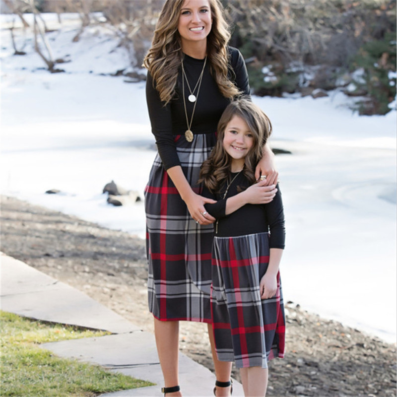 mother and daughter dress autumn long sleeve plaid dress