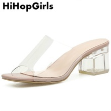 HiHopGirls New Summer Roman Transparent Crystal Women Pumps Shoes Sexy High  Heels Fashion Solid Color Fish ddca31771a09