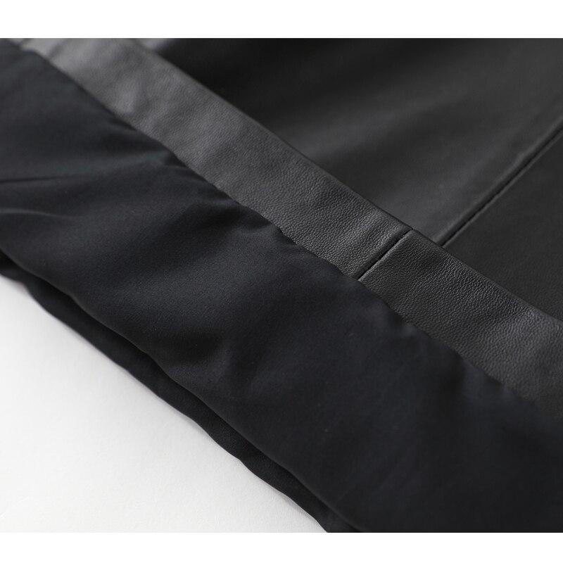Droite Moutons Hiver Nouvelle Neuf En Jambe Automne Femmes Large Taille Noir Cuir Lâche Pantalon De Et 2019 Dames Pantalon Véritable Haute 7TOPxq