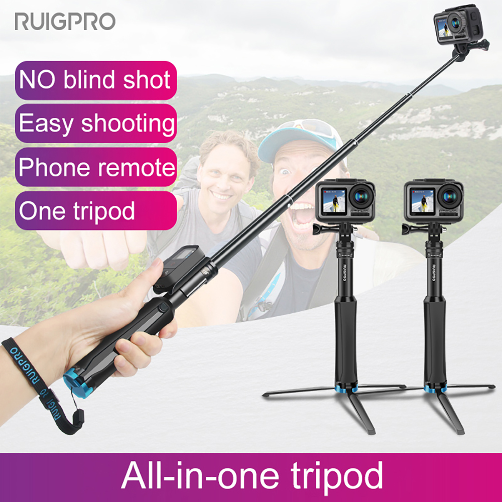 Handheld Tripod Mount Selfie Stick Extendable Monopod for DJI OSMO action Gopro Hero8 7 6 5 4 3+ SJCAM Xiaomi YI 4k Sport Camera image