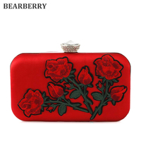BEARBERRY 2017 new style women embroidery evening bags with pearl chain brand red rose flower clutch wallets bride bags MN570