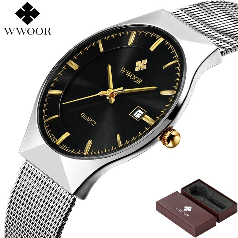 Image 2 - WWOOR Brand Luxury Mens Watches Waterproof Ultra Thin Date Clock Male Steel Mesh Silver Sport Men Quartz Watch relogio masculino-in Quartz Watches from Watches