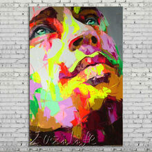 Palette knife portrait Face Oil painting Character figure canva Hand painted Francoise Nielly wall Art picture for living room36