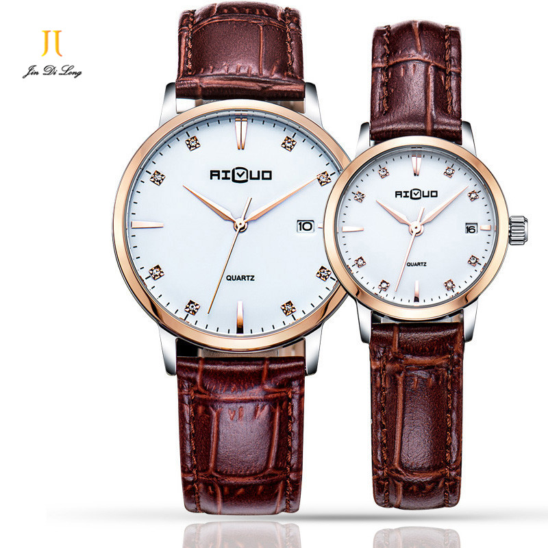 Brand 1 Pair Luxury Simple Fashion Ultra Thin Lovers' Watch Men&Women's Quartz Diamond Wristwatch Leather Strap Waterproof 50M ultra thin watch male student korean version of the simple fashion trend fashion watch waterproof leather watch men s watch quar