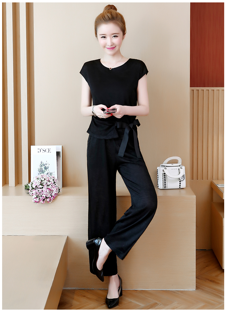 Plus Size Summer 2 Piece Sets Women Short Sleeve Bow Tops And Wide Leg Pants Sets Suits Casual Fashion Women's Two Piece Sets 40