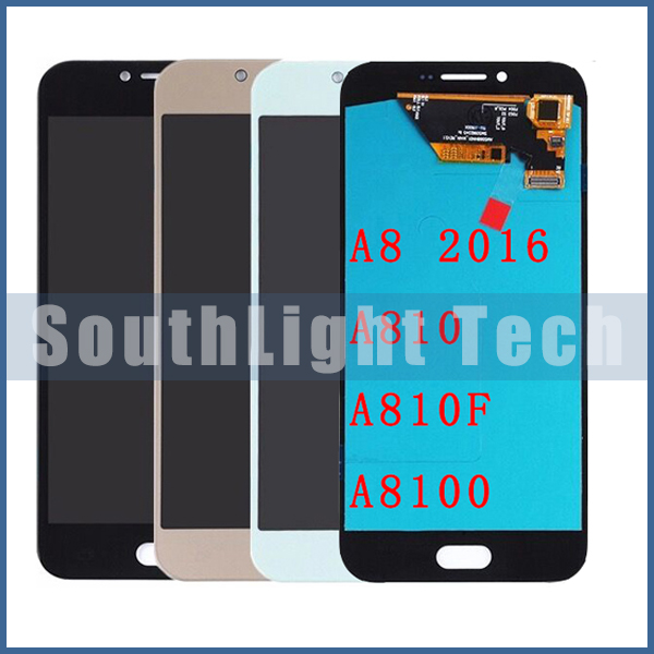 Grade AAA+++ Super AMOLED HD for <font><b>Samsung</b></font> Galaxy A8 2016 A8100 <font><b>A810</b></font> <font><b>LCD</b></font> Display Touch Screen Digitizer Assembly Replacement image