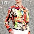 Американский стиль цветной печати топы чистый шелк блузки женщины рубашки blusas y mujer blusa camisas camisetas у топы roupas LT377