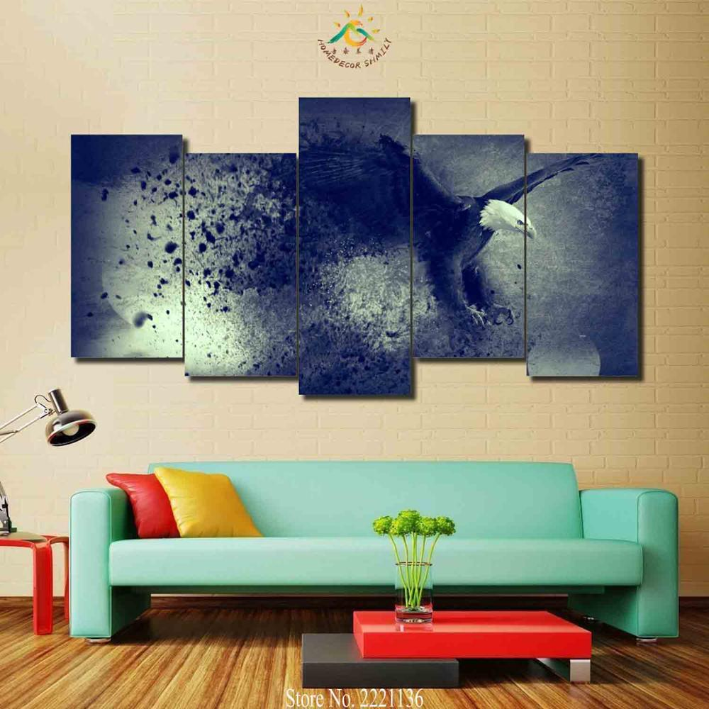 3 Pieces Animal Black White Eagle Pictures Wall Art HD Painted For Living Room Printed Canvas Painting