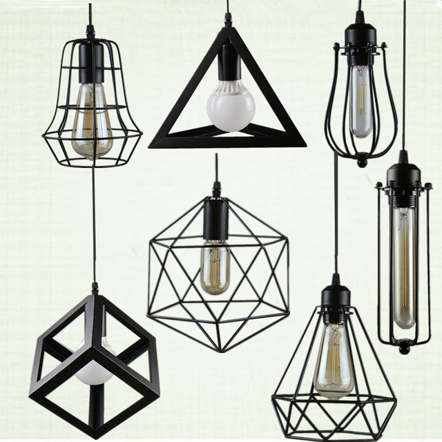 Vintage Loft Pendant Lights with Metal Cage Lampshade Nordic Warehouse Kitchen Pendant Lighting Fixtures E27 Hanging Lamp