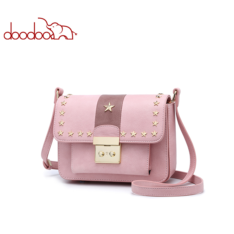 DOODOO Brand Fashion Women Bag Female Shoulder Crossbody Bags Ladies Artificial Leather Rivet New Small 3 Colors Messenger Bags free shipping new fashion brand women s single shoulder bag ladies crossbody bag fresh jelly rivet bag 100