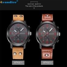 Hcandice regalo perfecto moda hannah martin hombres fecha de cuarzo analógico reloj del deporte de cuero de acero inoxidable mar13