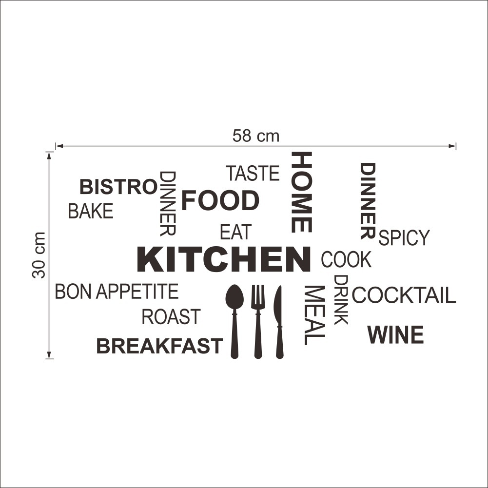 Mural Tiles For Kitchen Decor Aliexpresscom Buy Modern Black Quote Kitchen Restaurant Wall