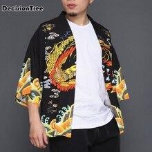 2019 men casual hiphop male Chinese Emperor Style cardigan kimono loose coat dragon print hiphop kimono linen overcoat толстовка hiphop