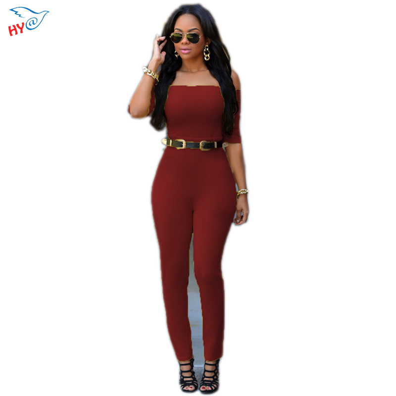 Red Sleeveless Slash neck  Elegant Jumpsuit Off The Shoulder Playsuit sexy club rompers for women Summer Beach Romper Plus Size